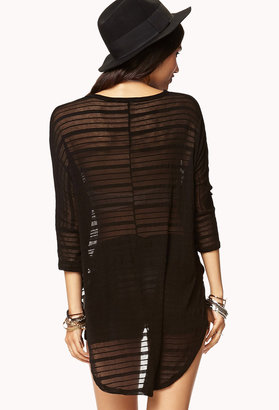 Forever 21 Shadow Stripe High-Low Top