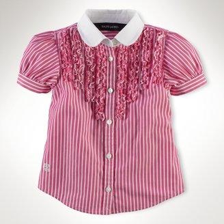 Poplin Ruffled Striped Shirt