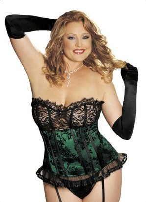 Shirley of Hollywood Women's Velvet Plus-Size Corset