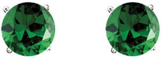 Crislu Round Emerald Cubic Zirconia May Birthstone Stud Earrings