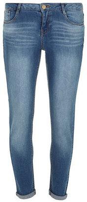 Dorothy Perkins Mid Wash 'Harper' Skinny Roll Up Jeans