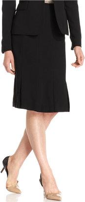 Kasper Pleated Flared-Hem Skirt
