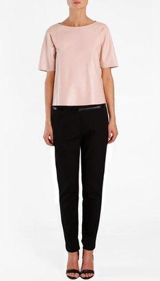 Tibi Leather Short Sleeve Top