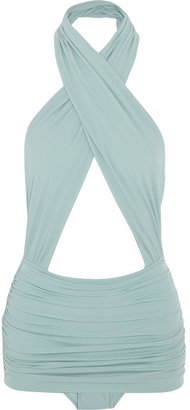 Norma Kamali Mio ruched crossover swimsuit