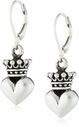 "King Baby ""Crowned Heart"" Small 3D Crowned Heart Leverback Earrings $200 thestylecure.com"