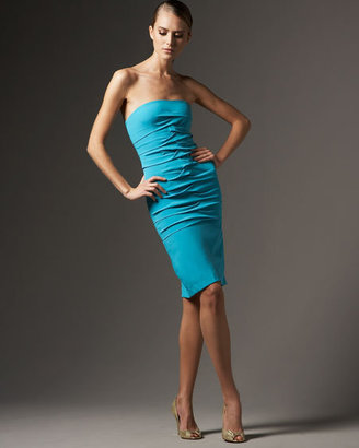 Nicole Miller Strapless Ruched Charm Dress