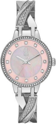JLO by Jennifer Lopez Women's Crystal Stainless Steel Half-Bangle Watch
