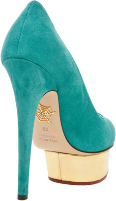 Charlotte Olympia Dolly Signature Court Island Platform in Green