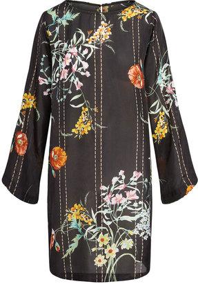 Johnny Was Deidre Floral Print Long Silk Tunic