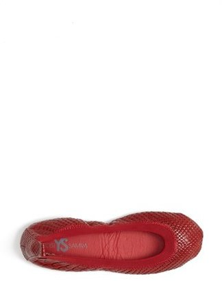 Yosi Samra Croc Embossed Foldable Ballet Flat