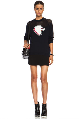 3.1 Phillip Lim Poodle Patch Cotton-Blend Pullover with Mesh Yoke in Navy