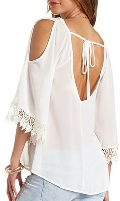 Charlotte Russe Sheer Crochet Cuff Cold Shoulder Tunic Top