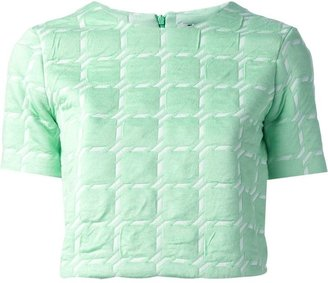 T by Alexander Wang Grid Jacquard Crop Top