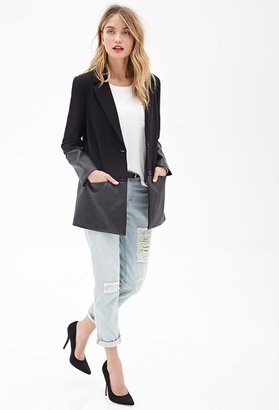 Forever 21 FOREVER 21+ Contemporary Faux Leather-Trimmed Coat