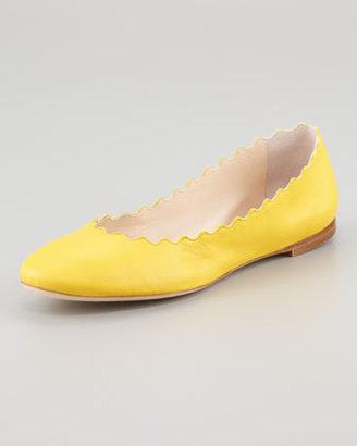 Chloé Scalloped Ballerina Flat, Yellow
