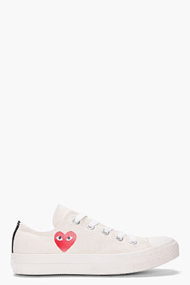 Comme des Garcons Low-top cream Canvas Converse Sneakers