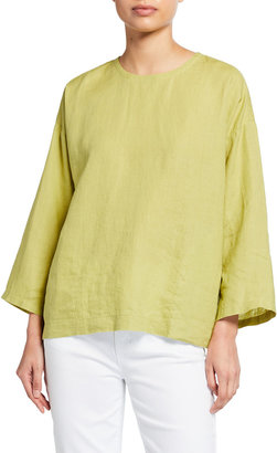 Eileen Fisher Plus Size Boxy Linen Round-Neck Top