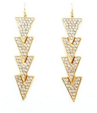 Charlotte Russe Linked Rhinestone Triangle Earrings