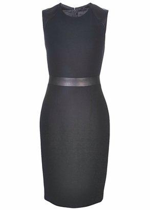 Cushnie et Ochs Wool Crepe W/ Leather Dress