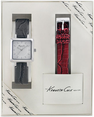 Kenneth Cole New York Watch Set, Women's Interchangeable Gray and Red Leather Straps 22mm KC6063