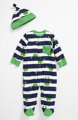 Offspring 'Frog' Footie & Hat (Baby) Navy Stripe Newborn