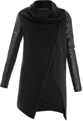 Anne Vest Leather sleeve knitted cardigan