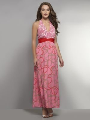 New York & Co. Floral and Chain-Link Print Maxi Dress