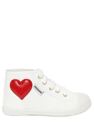 Moschino Canvas Patent Heart High Top Sneakers