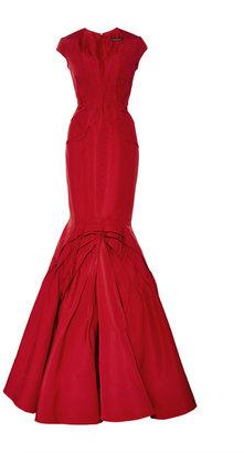 Zac Posen Paneled Silk-Faille Gown Grenadine