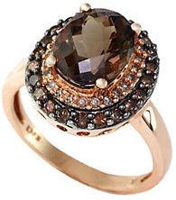 EFFY 14Kt. Rose Gold Smokey Topaz Ring with Brown & White Diamonds