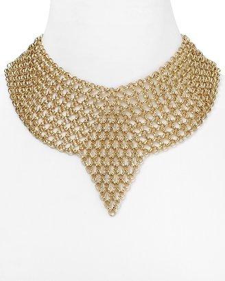 "Aqua V Chain Bib Necklace. 14"""