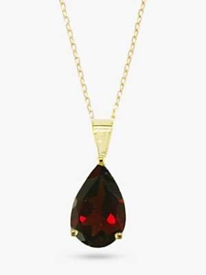 E.W Adams 9ct Yellow Gold Teardrop Pendant Necklace, Garnet