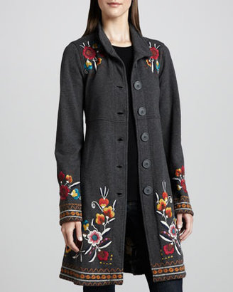 Johnny Was Zoe Embroidered Military Coat, Women's