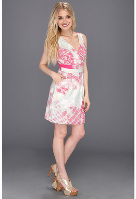 Jessica Simpson Print Sleeveless Dress with Open Back Detail