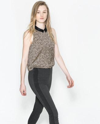 Zara Top With Contrast Neck
