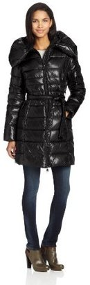 Via Spiga Womens Warm Belted Pillow Collar Down Coat