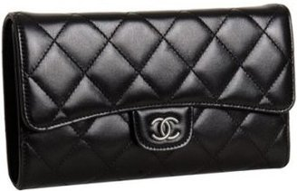 Chanel black quilted leather flap continental wallet