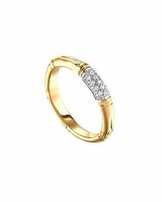 John Hardy Bamboo Slim Diamond Band Ring, Gold