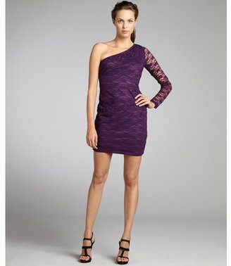 Wyatt plum stretch lace one shoulder evening dress
