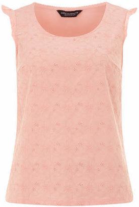 Dorothy Perkins Coral Broderie Jersey Shell Top