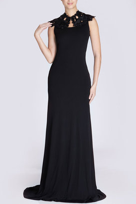 Josie Natori Matte Jersey Diamond Waist Dress