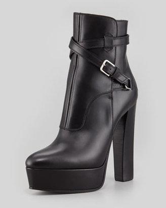 Saint Laurent Leather Platform Ankle Bootie, Black