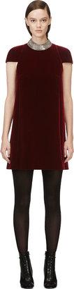 Saint Laurent Red Legion Velvet A-Line Embellished Dress