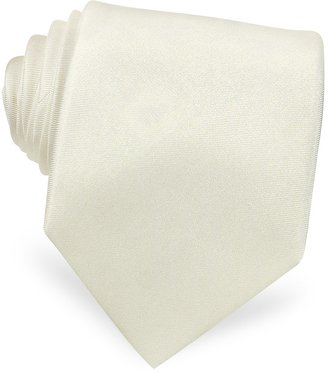 Forzieri Solid White Extra-Long Pure Silk Tie