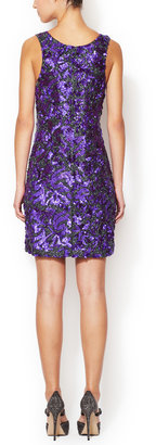 Vera Wang Beaded Sequin Scoopneck Shift Dress