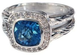 EFFY Balissima Blue Topaz and Diamond Ring in Sterling Silver, 0.18 ct. t.w.