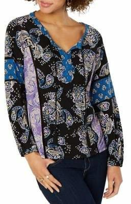 Style&Co. Style & Co. Printed Split-Neck Top