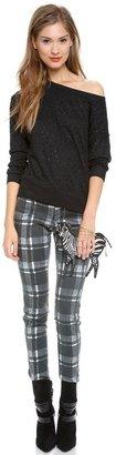 Alice + Olivia Textured Plaid Skinny Jeans