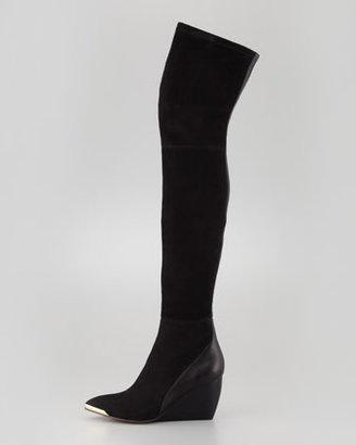 Rachel Zoe Nico Over-the-Knee Wedge Boot, Black
