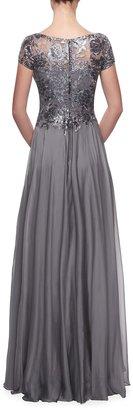 La Femme Cap-Sleeve Chiffon Gown with Metallic Lace Bodice